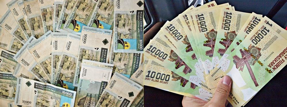 Miestna mena ariary. Madagaskar práve v tomto období dáva do obehu nový vzhľad svojich peňazí - vľavo staré ariary, vpravo nové. Keďže som párkrát vyberal z bankomatu, som jeden z prvých, kto nové ariary dostal. V niektorých dedinách, keď som chcel platiť novými peniazmi, nevedeli, čo za cudziu menu im to dávam. Kurz: 1€ = 3 586 ariary. Madagaskar je tak jedným z mála miest, kde môžete byť milionár.